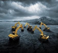 煤矿 挖掘机合影 工程机械图片