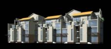 现代风格室外楼梯联体别墅模型图片