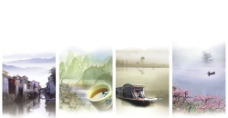 中国风风景展板图片
